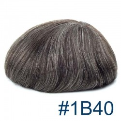 Men's Wig - Toupee, Super-Thin Skin Base 0.08mm, Color #1B40 (Off Black with 40% Grey Hair), Made With Remy Indian Human Hair