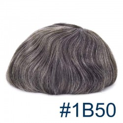 Men's Wig - Toupee, Super-Thin Skin Base 0.08mm, Color #1B50 (Off Black with 50% Grey Hair), Made With Remy Indian Human Hair