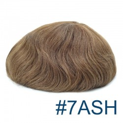 Men's Wig - Toupee, Super-Thin Skin Base 0.08mm, Color #7ASH (Light Brown with Ash Tone), Made With Remy Indian Human Hair