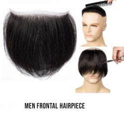 Men's Frontal Hairpiece Specially Designed to Cover Receding Hairline, Color #1 (Jet Black), Made With Remy Indian Human Hair