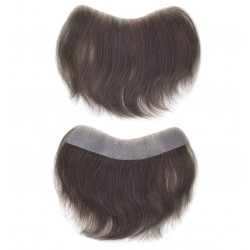 Men's Frontal Hairpiece Specially Designed to Cover Receding Hairline, Color #1B (Off Black), Made With Remy Indian Human Hair