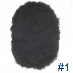 Men's Wig - Toupee, Afro Curl, Transparent Thin Skin Base 0.08mm, Color #1 (Jet Black), Made With Remy Indian Human Hair
