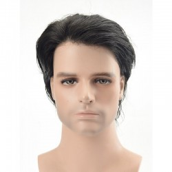 Men's Wig - Toupee, Full Swiss Lace Base, Color #1 (Jet Black), Made With Remy Indian Human Hair