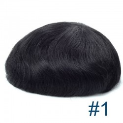 Men's Wig - Toupee, Fine Mono with Skin and French Lace Front Base, Color #1 (Jet Black), Made With Remy Indian Human Hair