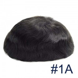 Men's Wig - Toupee, Fine Mono with Skin and French Lace Front Base, Color #1A (Black), Made With Remy Indian Human Hair