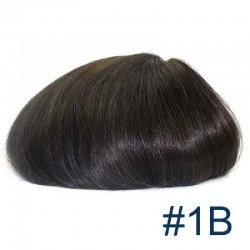 Men's Wig - Toupee, Fine Mono with Skin and French Lace Front Base, Color #1B (Off Black), Made With Remy Indian Human Hair