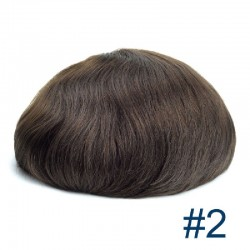 Men's Wig - Toupee, Fine Mono with Skin and French Lace front Base, Colour #2 (Darkest Brown), Made With Remy Indian Human Hair