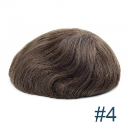 Men's Wig - Toupee, Fine Mono with Skin and French Lace front Base, Color #4 (Dark Brown), Made With Remy Indian Human Hair