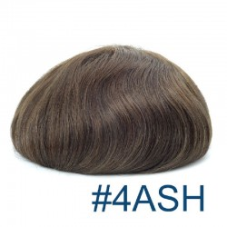 Men's Wig-Toupee, Fine Mono with Skin and French Lace Front Base, Color #4ASH (Dark Brown with Ash Tone), Made With Indian Hair