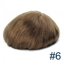 Men's Wig - Toupee, Fine Mono with Skin and French Lace front Base, Colour #6 (Medium Brown), Made With Remy Indian Human Hair