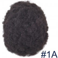 Men's Wig - Toupee, Afro Curl, Fine Mono with NPU and Lace Front Base, Color #1A (Black), Made With Remy Indian Hair