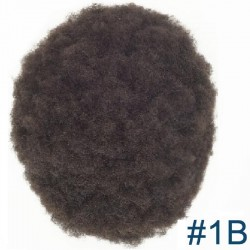 Men's Wig - Toupee, Afro Curl, Fine Mono with NPU and Lace Front Base, Color #1B (Off Black), Made With Remy Indian Hair