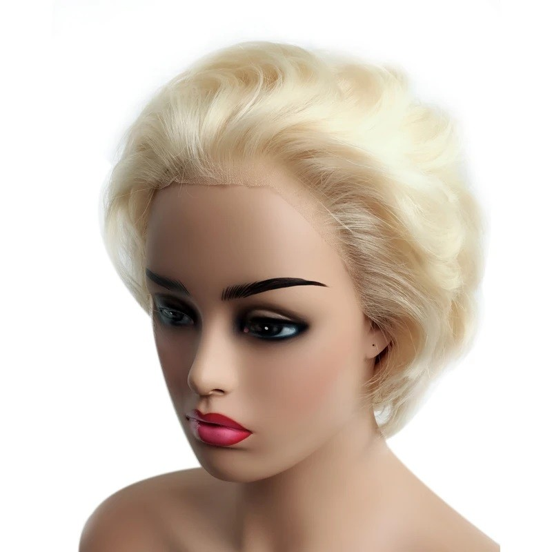 """Full Lace Wig, Short Length, 8"""", Pixie Cut, Wavy, Color #613 (Platinum Blonde), Made With Remy Indian Human Hair"""