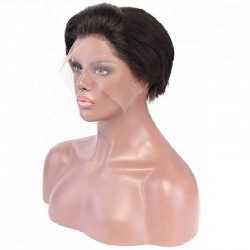 """Full Lace Wig, Short Length, 6"""", Pixie Cut, Color #1B (Off Black), Made With Remy Indian Human Hair"""