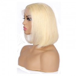 """Full Lace Wig, Short Length, 10"""", Bob Cut, Color #613 (Platinum Blonde), Made With Remy Indian Human Hair"""