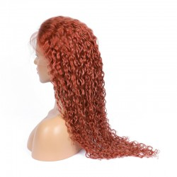 Full Lace Wig, Extra Long Length, Curly, Color #35 (Red Rust), Made With Remy Indian Human Hair
