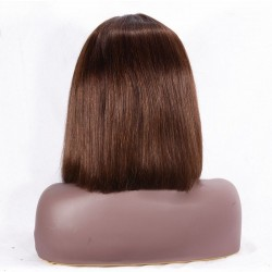 """Full Lace Wig, Short Length, 10"""", Bob Cut, Color #4 (Dark Brown), Made With Remy Indian Human Hair"""