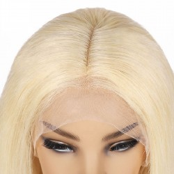 """Lace Front Wig, Short Length, 10"""", Bob Cut, Color #613 (Platinum Blonde), Made With Remy Indian Human Hair"""