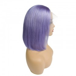 """Lace Front Wig, Short Length, 10"""", Bob Cut, Color Purple, Made With Remy Indian Human Hair"""