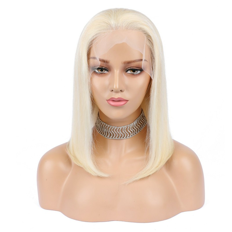 Lace Front Wig, Medium Length, Color #60 (Lightest Blonde), Made With Remy Indian Human Hair