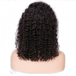 Lace Front Wig, Medium Length, Deep Curly, Color #1B (Off Black), Made With Remy Indian Human Hair