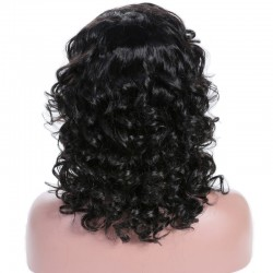 Lace Front Wig, Medium Length, Curly, Color #1 (Jet Black), Made With Remy Indian Human Hair