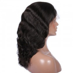 Lace Front Wig, Medium Length, Body Wave, Color #1 (Jet Black), Made With Remy Indian Human Hair