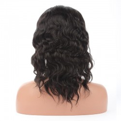 Lace Front Wig, Medium Length, Loose Wavy, Color #1 (Jet Black), Made With Remy Indian Human Hair