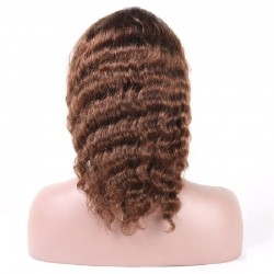 Lace Front Wig, Medium Length, Deep Wavy, Color #4 (Dark Brown), Made With Remy Indian Human Hair