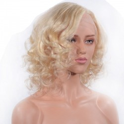 Lace Front Wig, Medium Length, Loose Wavy, Color #613 (Platinum Blonde), Made With Remy Indian Human Hair