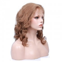 Lace Front Wig, Medium Length, Loose Wavy, Color #33 (Auburn), Made With Remy Indian Human Hair
