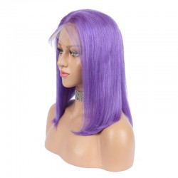 Lace Front Wig, Medium Length, Color Purple, Made With Remy Indian Human Hair