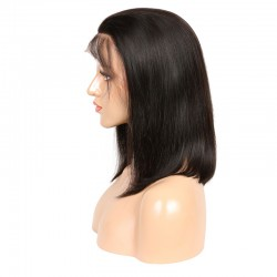 Lace Front Wig, Medium Length, Baby Hair, Color #1B (Off Black), Made with Remy Indian Human Hair