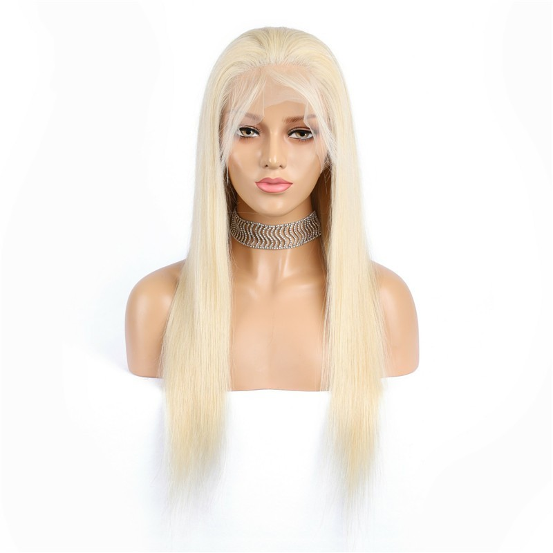 Full Lace Wig, Long Length, Color #60 (Lightest Blonde), Made With Remy Indian Human Hair