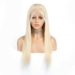 Lace Front Wig, Long Length, Color #60 (Lightest Blonde), Made With Remy Indian Human Hair