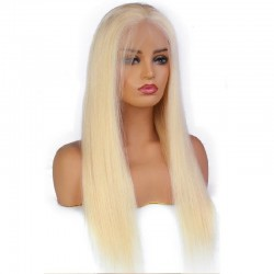 Lace Front Wig, Long Length, Color #22 (Light Pale Blonde), Made With Remy Indian Human Hair