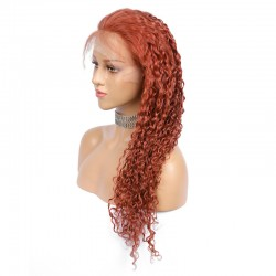 Lace Front Wig, Extra Long Length, Curly, Color #35 (Red Rust), Made With Remy Indian Human Hair