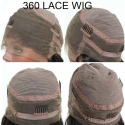 """360° Lace Wig, Short Length, 10"""", Bob Cut, Color #2 (Darkest Brown), Made With Remy Indian Human Hair"""