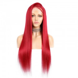 360° Lace Wig, Extra Long Length, Color Red, Made With Remy Indian Human Hair
