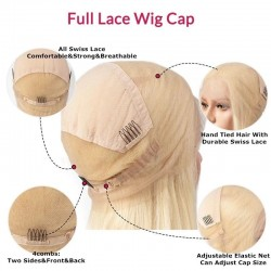 """Full Lace Wig, Short Length, 8"""", Bob Cut With Fringe, Color 22 (Light Pale Blonde), Made With Remy Indian Human Hair"""