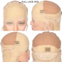 """Full Lace Wig, Short Length, 10"""", Bob Cut, Color #60 (Lightest Blonde), Made With Remy Indian Human Hair"""