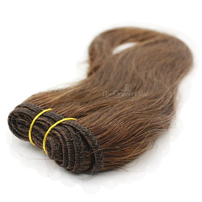 Weave, Straight, Color #6 (Medium Brown), Made With Remy Indian Human Hair