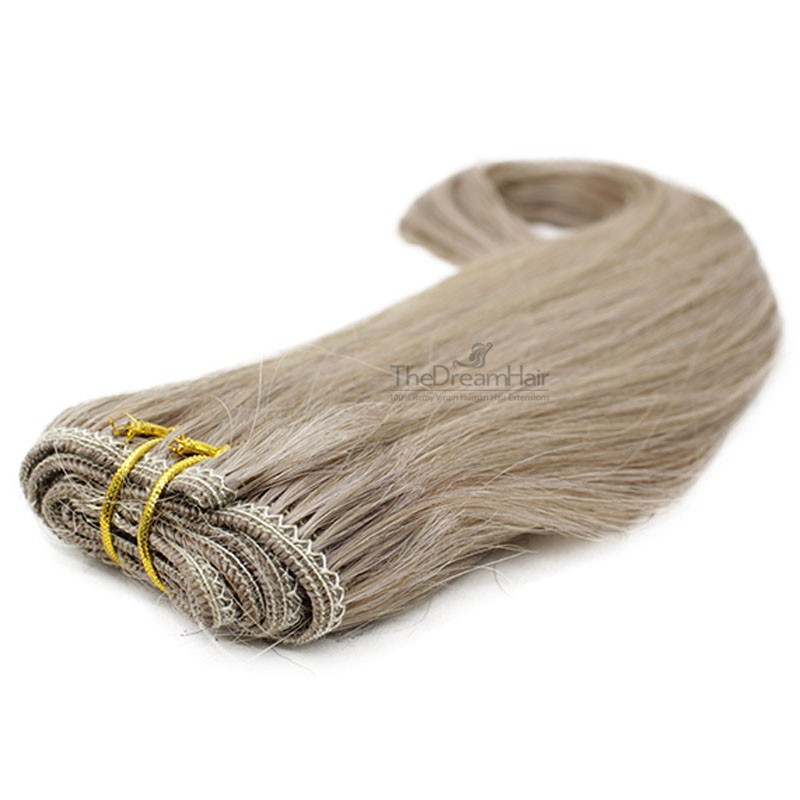 Weave, Straight, Color #18 (Light Ash Blonde), Made With Remy Indian Human Hair