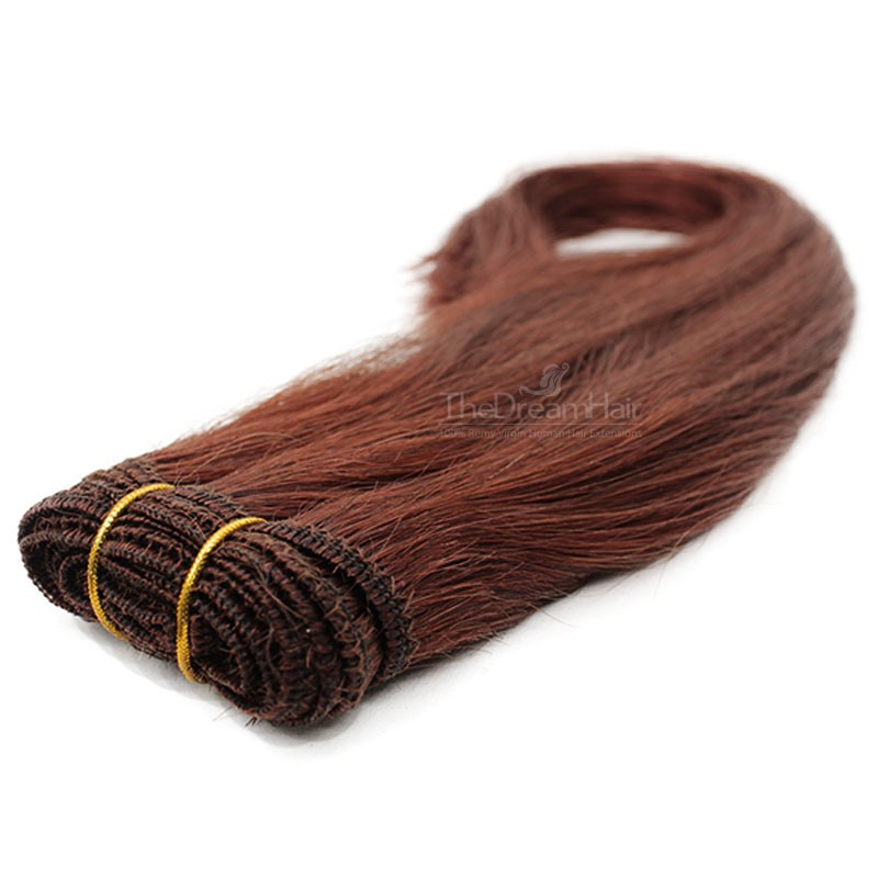 Weave, Straight, Color #30 (Dark Auburn), Made With Remy Indian Human Hair