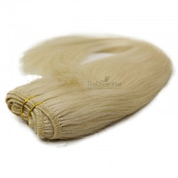 Weave, Straight, Color 613 (Platinum Blonde), Made With Remy Indian Human Hair