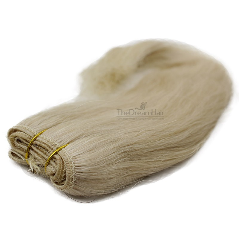 Weave, Straight, Color #60 (Lightest Blonde), Made With Remy Indian Human Hair