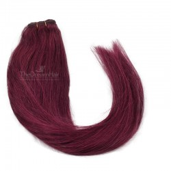 Weave, Straight, Color #530 (Red Wine), Made With Remy Indian Human Hair