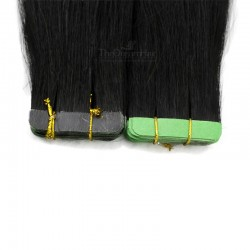 Tape-in Hair Extensions, Color #1 (Jet Black), Made With Remy Indian Human Hair