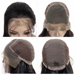 Lace Front Wig, Medium Length, Pre Plucked Hairline, Color #1B (Off Black), Made With Remy Indian Human Hair