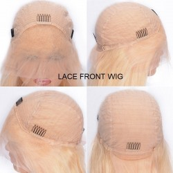 Lace Front Wig, Medium Length, Color #22 (Light Pale Blonde), Made With Remy Indian Human Hair